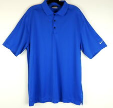 Nike Golf Mens L Polo Rugby Shirt Royal Blue White Swoosh Stretch Knit