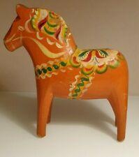 "Antique Swedish Dala Horse. Folk Art Carved Sweden Hand Painted.8"""