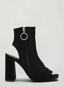 Miss Selfridge Womens Black Striker Boots Winter Shoes Wide Block Heel Open Toe