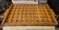 Vintage MCM Wood Lattice Serving Tray Plexiglass Smooth Surface Mid Century