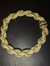 Mens 12mm Rope Bracelet 14k Gold Real Solid 925 Sterling Silver 25ct Diamonds