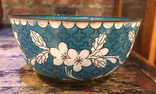 Chinese Cloisonne Enamel Small Bowl Blue with Flowers