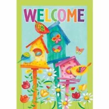 "Welcome Birdhouse Birds and Flowers Spring Summer Large House Flag 28"" X 40"""
