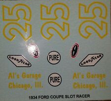 Repro 1/24 Monogram 1934 Ford Coupe Slot Racer  (#25) Decal Set