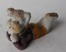 Teddy Bear Figurine Lying Down Popcorn Texture Cartoon Comic Style Ceramic Japan