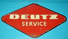 Original DEUTZ SERVICE Tractor Emblem Sign Wall Hanger Metal Rare Farm Gas Oil