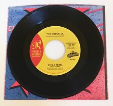 """The Crystals / He's A Rebel & He Hit Me / 7"""" 45 Mint"""