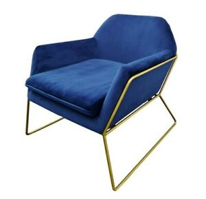 Royal Blue Velvet Designer Chair Armchair - Gold Iron Frame, Premium Design Sled