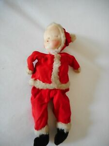Precious Shackman Hand Sewn Crafted Cloth Sleeping Baby As Santa Claus