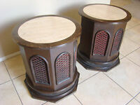 2 VINTAGE ROUND  FLOOR SPEAKERS RETRO RARE WITH MARBLE ON TOP WORKING