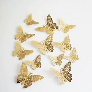 12PCS 3D BUTTERFLY WALL STICKERS LUXURY GOLD HOME DECORATION ALL ROOMS KIDS