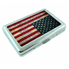 American Flag D14 Silver Metal Cigarette Case RFID Protection Wallet