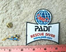 PADI iron-on RESCUE DIVER Scuba Diving patch & vintage Cloisonne pin