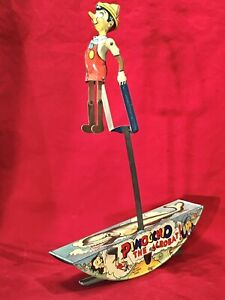 DISNEY 1939 PINOCCHIO THE ACROBAT MARX LITHOGRAPHED TIN LITHO WIND-UP TOY ,WORKS