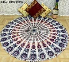 Peacock Mandala Queen Tapestry Roundie Picnic 100 % Cotton Hippie Wall Art Ombre