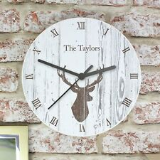 Personalised Stags Head Large Wooden Kitchen Wall Clock - New Home Wedding Gift