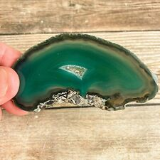 "Green Agate Slice w/ Quartz Crystal Druzy Geode Center Approx. 3.3"" Long Stone"