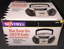 Sentry Compact Battery Powered Portable AM FM Clock Radio MBBRC with Handle