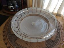 """Vintage Large White And Gold Glass Shade 16"""""""