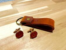 Leather cufflinks and keychain personalised Leather 3rd Anniversary Gift set.
