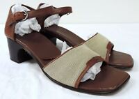 Cole Haan brown leather Sandals shoes women's size 8.5 B Med Heel ankle strap