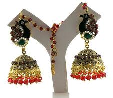 Jwellmart Indian Traditional Peacock CZ Jhumka Ear Chain Earrings Free Shipping