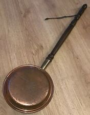 Antique Vintage Copper/Brass Wooden Handle Bed Warmer Roaster Chinese Etched Lid