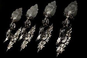Art Deco 4 bronze silver plated wall lights led LED compatible