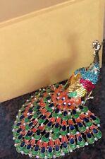 Chinese Cloisonne Inlaid Rhinestone Peacock Statue Jewelry Box ( decor)