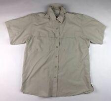 WORLD WIDE SPORTSMAN Mens Sz Large L Fishing Shirt Short Sleeve Tan Nylon