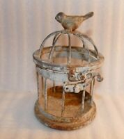 """vintage small 5.5""""  Black Decorative Metal Bird Cage Top opens, mch rust/wear"""