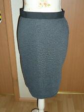 Rock Damenrock Knielang Größe 38 Farbe Schwarz Grau gestreift von Janina