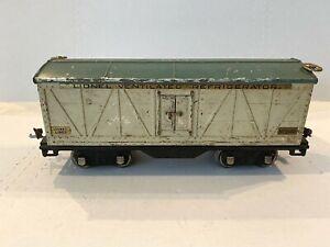 1929 LIONEL LINES PREWAR TRAIN-IVORY/GREEN NO. 514R REFRIGERATOR- STANDARD GAUGE