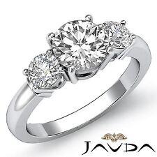 Gia F Vs2 14k White Gold 1.3ct 3 Stone Natural Round Cut Diamond Engagement Ring