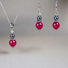 Vintage hot pink grey pearl crystal silver wedding bridesmaid jewellery set