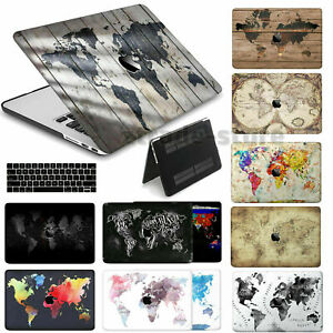 World Map Pattern Rubberized Cut Out Hard Case +KB Cover For New Macbook Pro Air