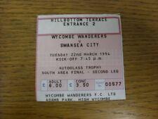 22/03/1994 Ticket: Football League Trophy South Area Final, Wycombe Wanderers v