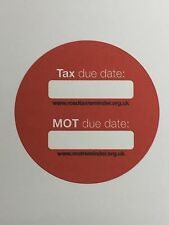 6 yes SIX x ROAD TAX REMINDER - MOT REMINDER SELF ADHESIVE STICKERS IN RED