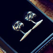 Stylish Skull Cufflinks Handcrafted Sterling Silver 925 Rock Biker Punk Goth