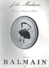 ▬► PUBLICITE ADVERTISING AD Parfum Perfume BALMAIN Jolie Madame René GRUAU 1957