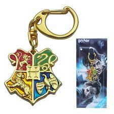 "Harry Potter Hogwarts Logo Golden Metal Key Ring Chain 2.8"" Gold"