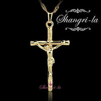 18K YELLOW GOLD PLATE RELIGIOUS Crucifix CROSS Pendant NECKLACE WOMENS SL209G