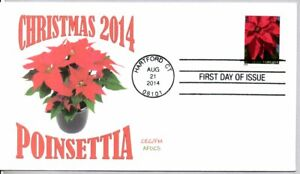 #4816 CHRISTMAS 2014 POINSETTIA STAMP FIRST DAY OF ISSUE HARTFORD CT 8/21/2014