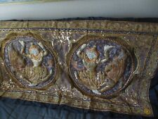 "Vintage Kalaga Burmese Thai Embroidery Beaded Jeweled Wall Tapestry 64,5"" X 35"""