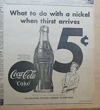 Large 1953 newspaper ad for Coca-Cola - What To Do With A Nickel When Thirsty