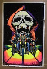 Skull Rider Vintage Blacklight Poster Velvet Pin-up 1980's Psychedelic Retro UV