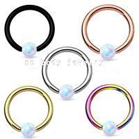 "2pcs. 16g 5/16"" Synthetic Opal Captive Bead Ring Ear Tragus Septum IP 316L Steel"