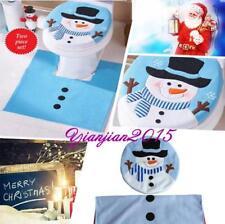Blue Snowman Toilet Seat Cover & Rug Set Home Bathroom Decoration XMAS Gift J