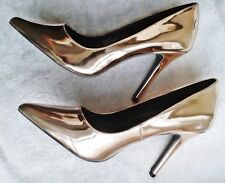 NEW Gold Metallic Womens High Heel Patent Leather Party Prom Ladies Shoes 7 41