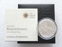2008 Alderney WWI 90th Anniv Remembrance £5 Five Pound Silver Proof Coin Box Coa